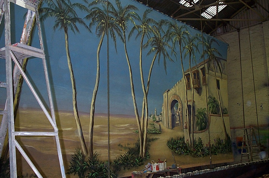 Desert cloth being painted